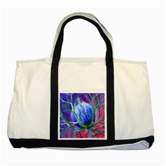 Blue Flowers With Thorns Two Tone Tote Bag