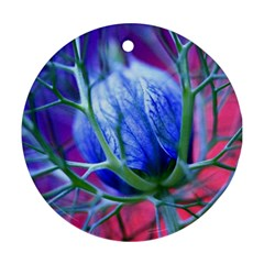 Blue Flowers With Thorns Round Ornament (two Sides)