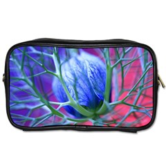 Blue Flowers With Thorns Toiletries Bags 2 Side