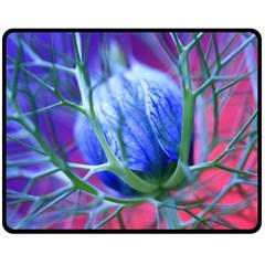 Blue Flowers With Thorns Fleece Blanket (medium)