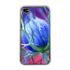Blue Flowers With Thorns Apple Iphone 4 Case (clear)
