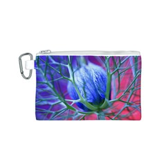 Blue Flowers With Thorns Canvas Cosmetic Bag (s)