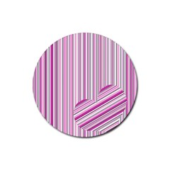 Pink love pattern Rubber Round Coaster (4 pack)