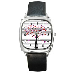 Love Tree Square Metal Watch