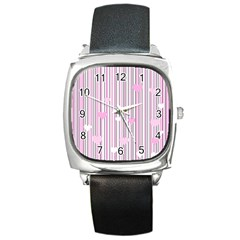 Pink Love Square Metal Watch