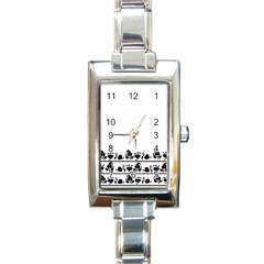 Simple black and white design Rectangle Italian Charm Watch