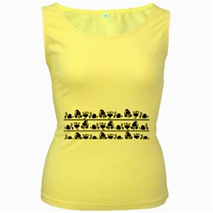 Simple black and white design Women s Yellow Tank Top