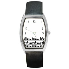 Simple black and white design Barrel Style Metal Watch