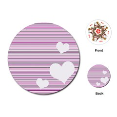 Pink Valentines day design Playing Cards (Round)