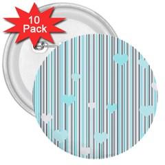 Cyan Love 3  Buttons (10 Pack)
