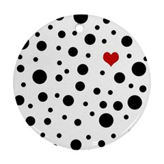 Dots and hart Ornament (Round)