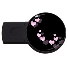 Pink harts design USB Flash Drive Round (1 GB)