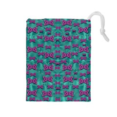 Peace And Freedom Over The Sea Of Softness Drawstring Pouches (large)
