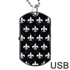 Royal1 Black Marble & White Marble (r) Dog Tag Usb Flash (one Side)