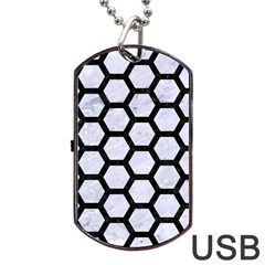Hexagon2 Black Marble & White Marble (r) Dog Tag Usb Flash (one Side)