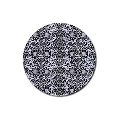 Damask2 Black Marble & White Marble (r) Rubber Round Coaster (4 Pack)