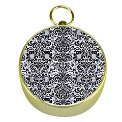 Damask2 Black Marble & White Marble (r) Gold Compass