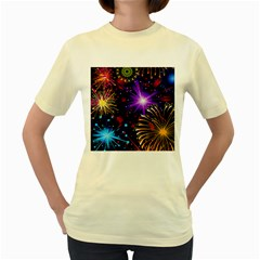 Celebration Fireworks In Red Blue Yellow And Green Color Women s Yellow T Shirt
