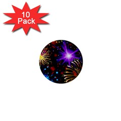 Celebration Fireworks In Red Blue Yellow And Green Color 1  Mini Buttons (10 Pack)
