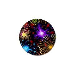 Celebration Fireworks In Red Blue Yellow And Green Color Golf Ball Marker