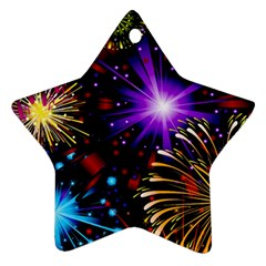 Celebration Fireworks In Red Blue Yellow And Green Color Star Ornament (two Sides)