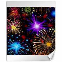 Celebration Fireworks In Red Blue Yellow And Green Color Canvas 16  X 20