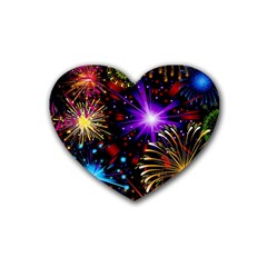 Celebration Fireworks In Red Blue Yellow And Green Color Heart Coaster (4 Pack)