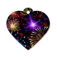 Celebration Fireworks In Red Blue Yellow And Green Color Dog Tag Heart (one Side)