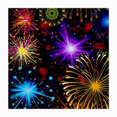 Celebration Fireworks In Red Blue Yellow And Green Color Medium Glasses Cloth