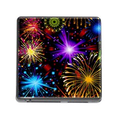 Celebration Fireworks In Red Blue Yellow And Green Color Memory Card Reader (square)