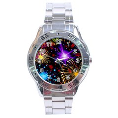 Celebration Fireworks In Red Blue Yellow And Green Color Stainless Steel Analogue Watch