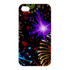 Celebration Fireworks In Red Blue Yellow And Green Color Apple Iphone 4/4s Hardshell Case