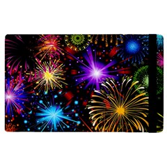 Celebration Fireworks In Red Blue Yellow And Green Color Apple Ipad 2 Flip Case