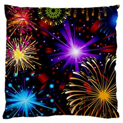 Celebration Fireworks In Red Blue Yellow And Green Color Standard Flano Cushion Case (two Sides)