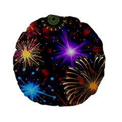 Celebration Fireworks In Red Blue Yellow And Green Color Standard 15  Premium Flano Round Cushions