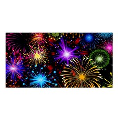 Celebration Fireworks In Red Blue Yellow And Green Color Satin Shawl