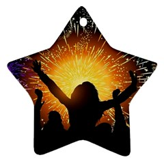 Celebration Night Sky With Fireworks In Various Colors Ornament (star)