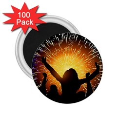 Celebration Night Sky With Fireworks In Various Colors 2 25  Magnets (100 Pack)