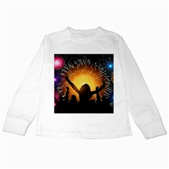 Celebration Night Sky With Fireworks In Various Colors Kids Long Sleeve T Shirts