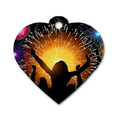 Celebration Night Sky With Fireworks In Various Colors Dog Tag Heart (one Side)