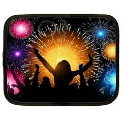 Celebration Night Sky With Fireworks In Various Colors Netbook Case (xl)