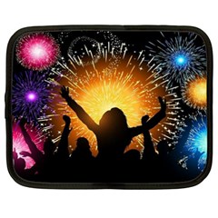 Celebration Night Sky With Fireworks In Various Colors Netbook Case (xxl)