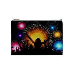 Celebration Night Sky With Fireworks In Various Colors Cosmetic Bag (medium)