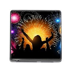 Celebration Night Sky With Fireworks In Various Colors Memory Card Reader (square)