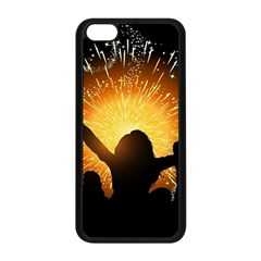 Celebration Night Sky With Fireworks In Various Colors Apple Iphone 5c Seamless Case (black)