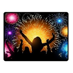 Celebration Night Sky With Fireworks In Various Colors Double Sided Fleece Blanket (small)