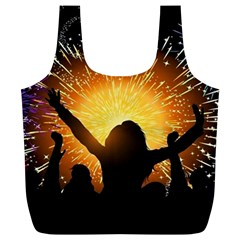 Celebration Night Sky With Fireworks In Various Colors Full Print Recycle Bags (l)