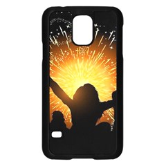Celebration Night Sky With Fireworks In Various Colors Samsung Galaxy S5 Case (black)