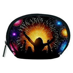 Celebration Night Sky With Fireworks In Various Colors Accessory Pouches (medium)