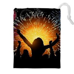 Celebration Night Sky With Fireworks In Various Colors Drawstring Pouches (xxl)